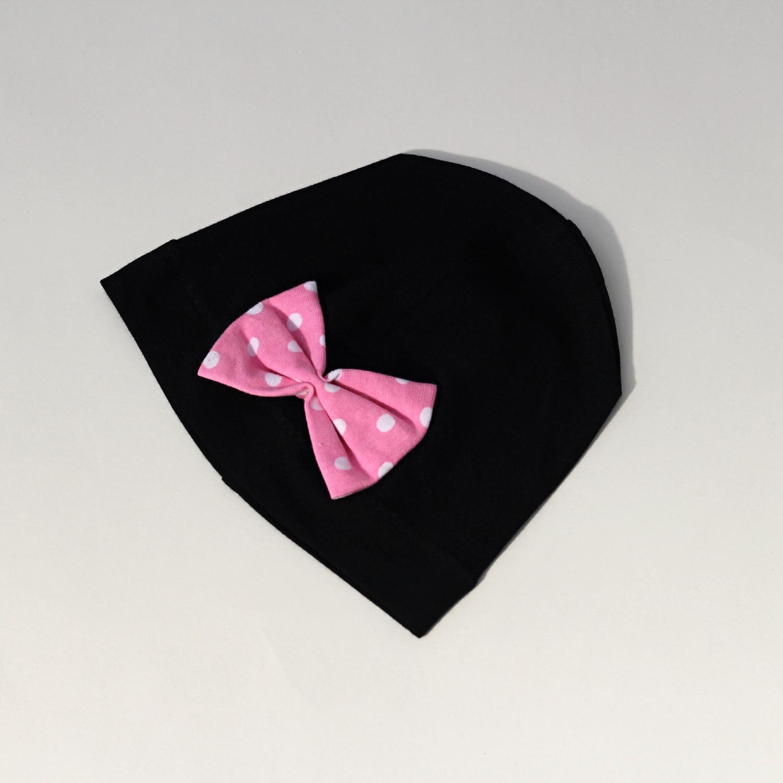 Bambusová čepička Minnie - mašle růžová antiperle