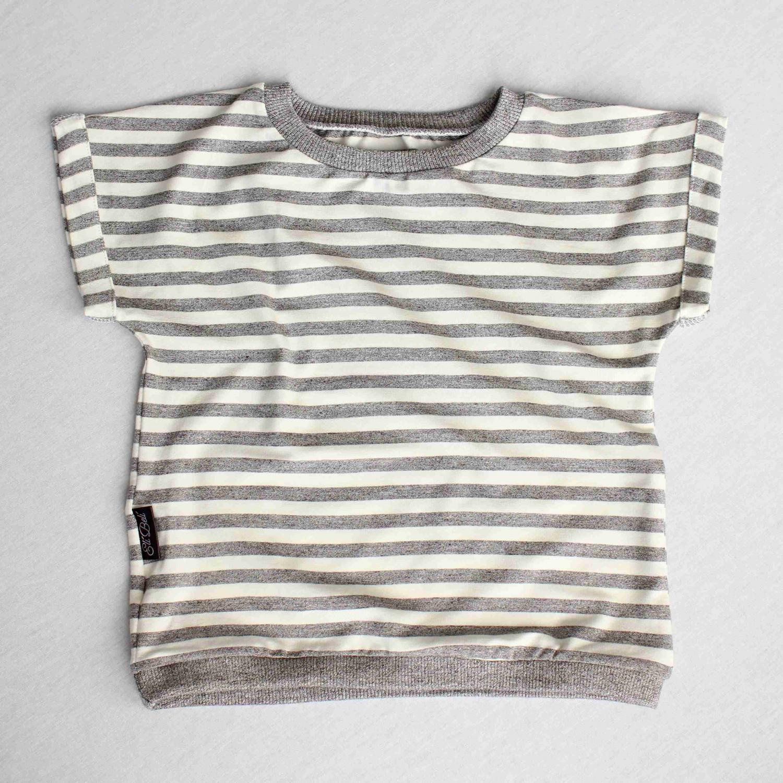 Bambusové triko - šedý proužek